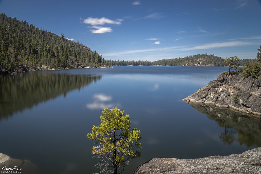 Pinecrest Lake, California is located north of Yosemite National Park at about 6,000 feet (1800 meters).